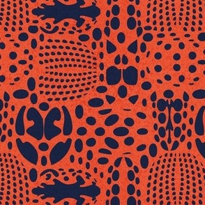 Small scale // Bug shield // neon red orange shade background oxford blue beetle spots
