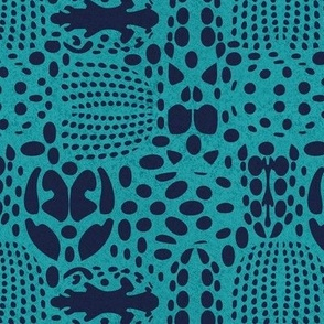 Small scale // Bug shield // peacock blue background oxford blue beetle spots