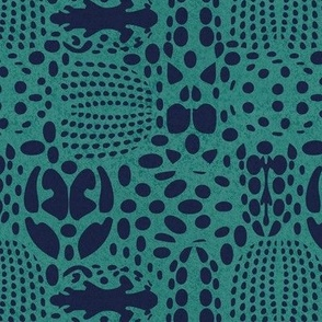 Small scale // Bug shield // teal green background oxford blue beetle spots