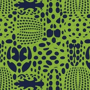 Small scale // Bug shield // green background oxford blue beetle spots