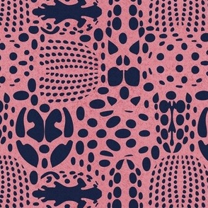 Small scale // Bug shield // pink background oxford blue beetle spots