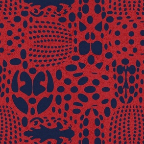Normal scale // Bug shield // carmine red background oxford blue beetle spots