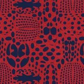 Small scale // Bug shield // carmine red background oxford blue beetle spots