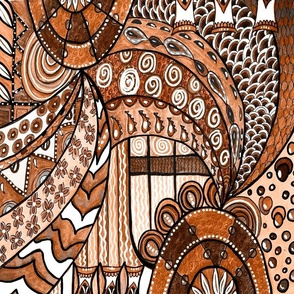 Neutral geometric Art Deco Boho browns, handdrawn