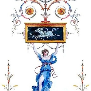 2 baroque rococo flowers floral leaves leaf Victorian beautiful lady woman dancer goddess roman Greek Grecian neoclassical acanthus centaur flourish festoon garland swags swirls cameo eagle heads antiques mythical long panels blue red purple green rye whe