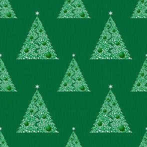 Christmas trees, green background and white Christmas trees.