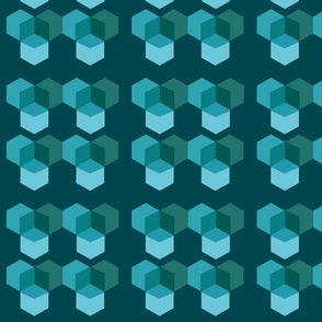 Overlapping Boxes Blue