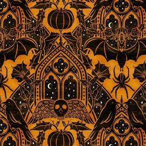Gothic Halloween Damask - large - marigold & black