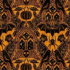 Gothic Halloween Damask - small - marigold and black
