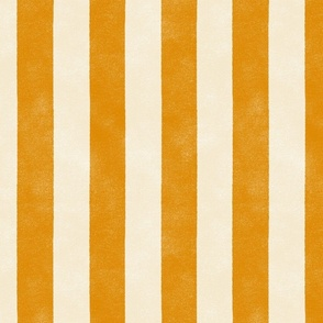 "Cabana Stripe - large 2"" stripes - marigold and cream"