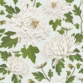Watercolour Chrysanthemums Green