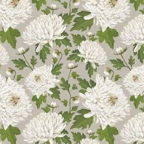 Watercolour Chrysanthemums Grey