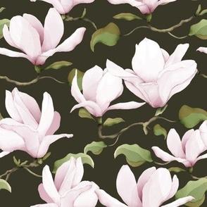 Watercolour Magnolias Dark Grey