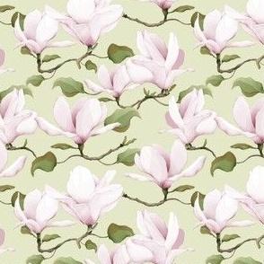 Watercolour Magnolias Dusty Green