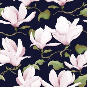 Watercolour Magnolias Navy