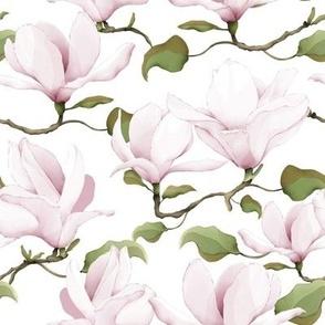 Watercolour Magnolias White