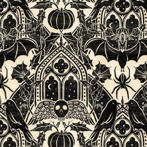 Gothic Halloween Damask - large - black and cream