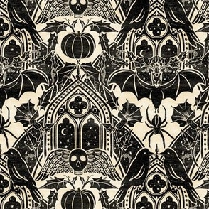 Gothic Halloween Damask - small - black and cream