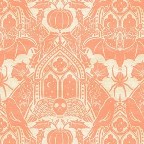Gothic Halloween Damask - large - peach and cream