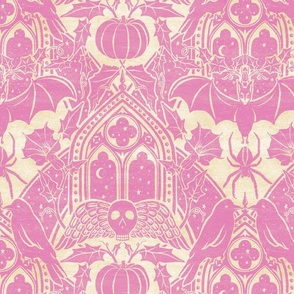 Gothic Halloween Damask - large - orchid and cream