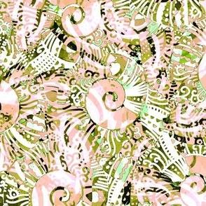 Seashell stylization, Large size, Green and beige
