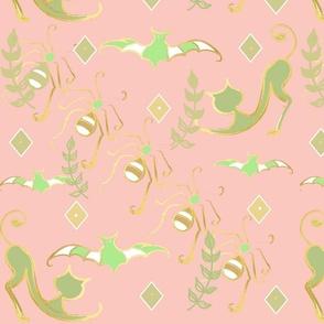 Pastel Halloween Frolic Toile- Soft Pink