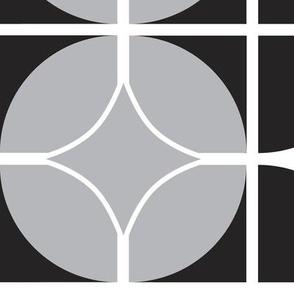 Othello - Midcentury Modern Geometric Black & Grey Jumbo Scale