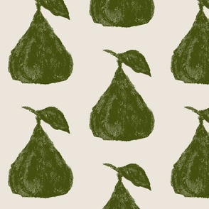 green painterly pears