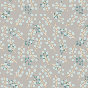 Light Blue and Turquoise Floral Accents on Grey