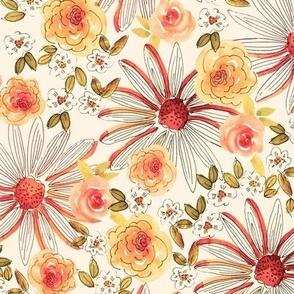 Watercolor Vintage Sketchy floral