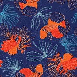 Lion fish Surfs Up Blue Orange by Jac Slade
