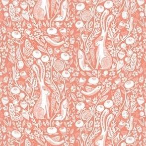 SMALL hare // coral animal autumn fall botanical linocut block print