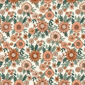 SMALL seventies retro floral - trippy, hippie floral fabric - peach