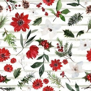 Jolly Christmas Florals / Minty Sage Stripes