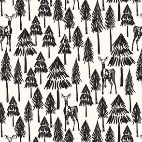 Doe A Deer - white & Black Plain Medium - Hufton-13