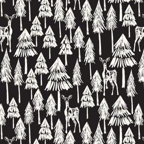 Doe A Deer - Black and white Plain Medium - Hufton-12