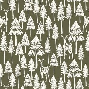 Doe A Deer - Forest green Plain Medium - Hufton-11