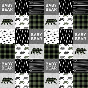 """(3"""" scale) baby bear patchwork quilt top - hunter green 