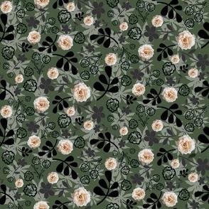 Cream rose in camouflage
