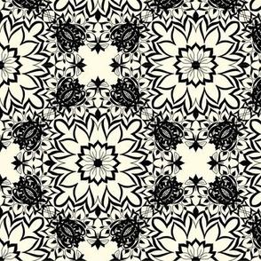 Black floral stars