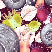 Snail in the strawberry bushes, Gray on a burgundy background
