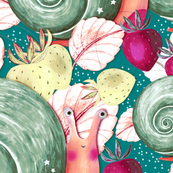 Snail in the strawberry bushes, Gray-green on gray-blue background