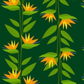 Birds of Paradise on Jungle Medium Green