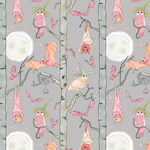 Pastel Bats and Owls (large scale) by JAF Studio