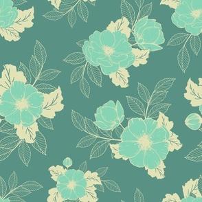 Dog Roses - Celadon