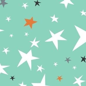 Starlight - Twinkling Stars - Mint Green Large Scale