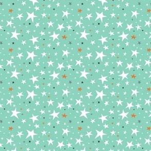 Starlight - Twinkling Stars - Mint Green Small Scale