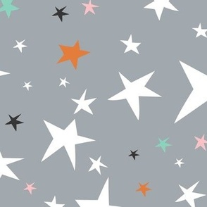 Starlight - Twinkling Stars - Grey Large Scale