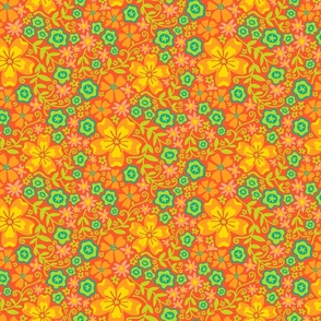 Boho Floral in Orange Green Yellow - SMALL Scale - UnBlink Studio by Jackie Tahara