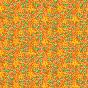 Boho Floral in Orange Green Yellow - TINY Scale - UnBlink Studio by Jackie Tahara